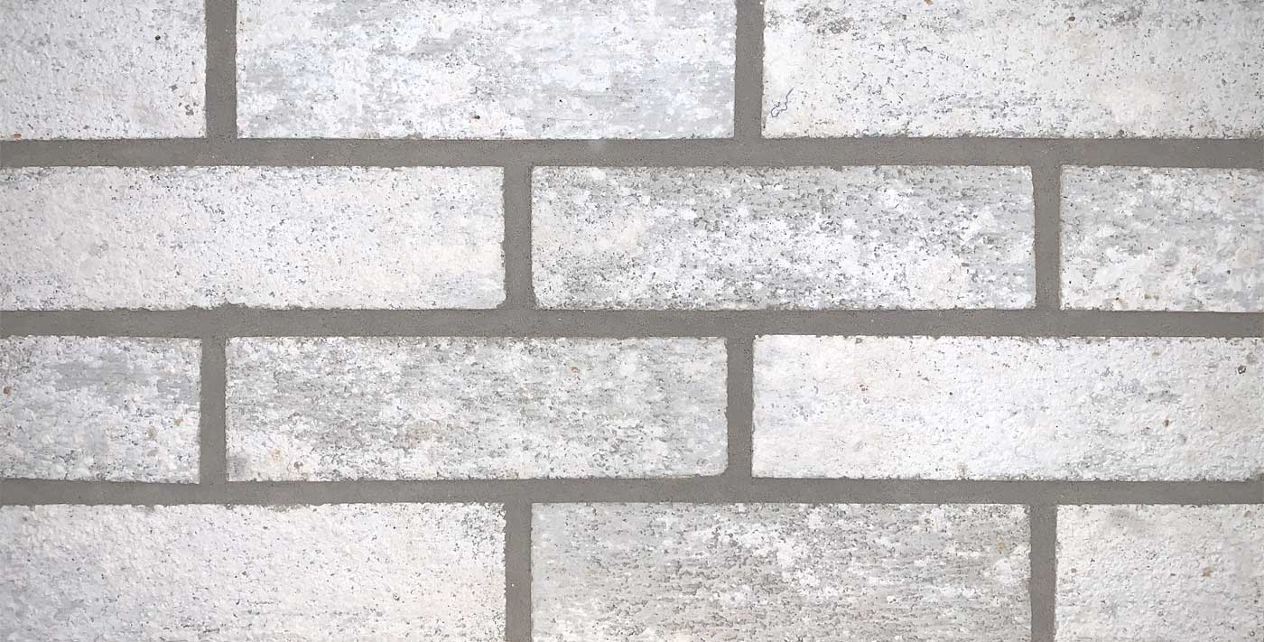 Mountain Peak white brick with gray mortar